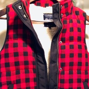 Madewell Sherpa Flannel Red Plaid Cozy Vest